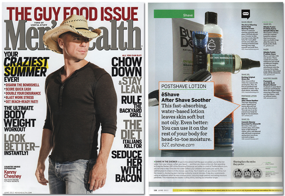 eShave Aftershave Soothers featured on the June Issue of Men's Health Magazine
