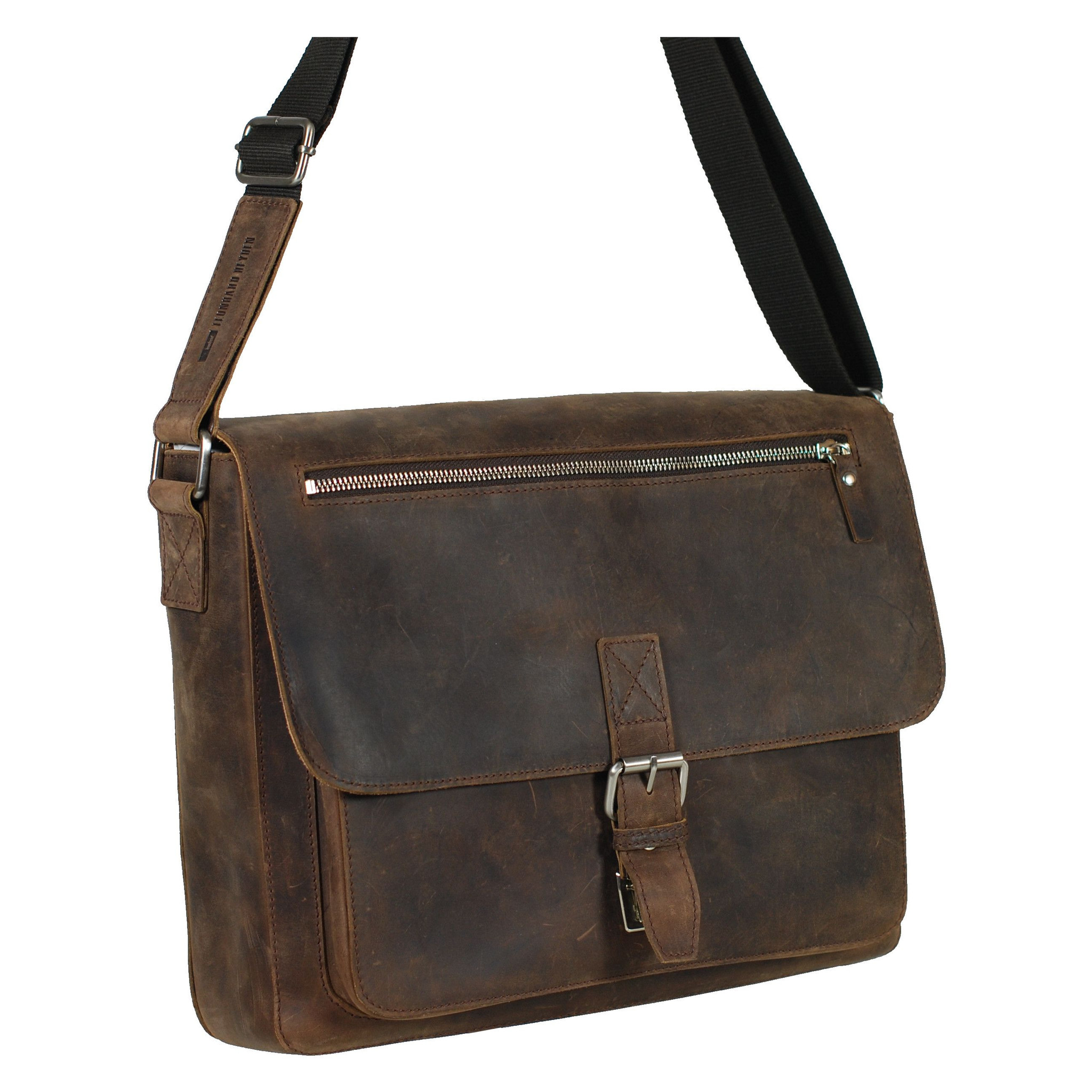 "Leonhard Heyden Salisbury Leather Messenger Bag with 13"" Laptop Compartment"