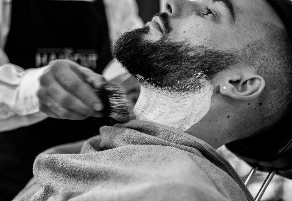 Shaving a coarse beard with sensitive skin
