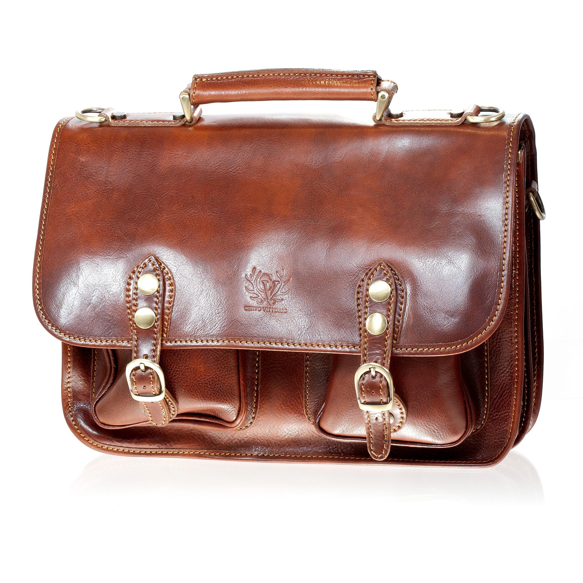 Cervo Vittorio Leather Messenger Bag, Cognac