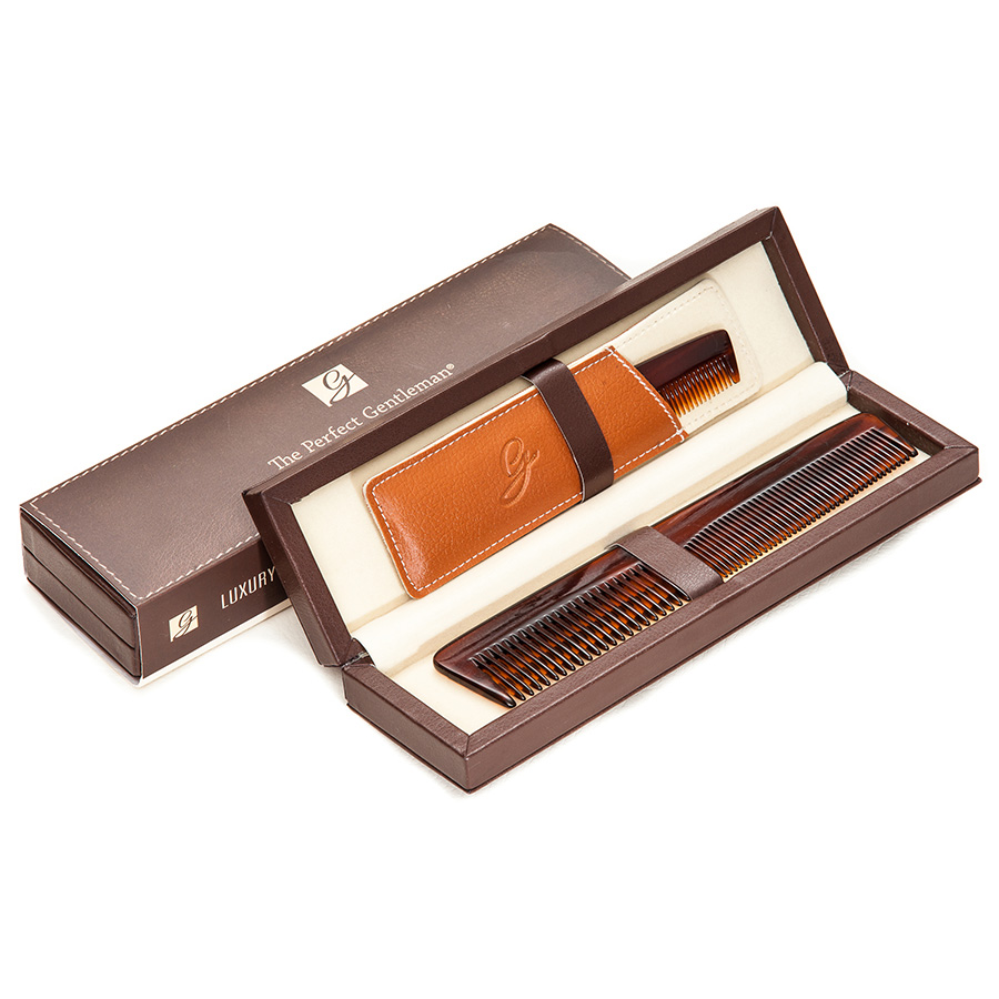The Perfect Gentleman Luxury Comb Set in Deluxe Leather Case